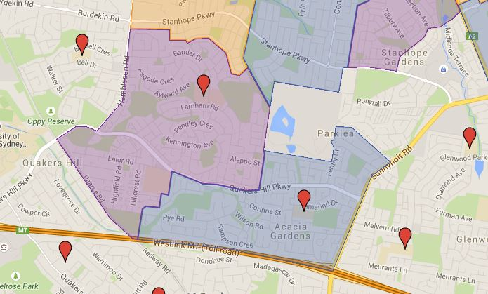 Barnier and Quakers Hill Public School catchment