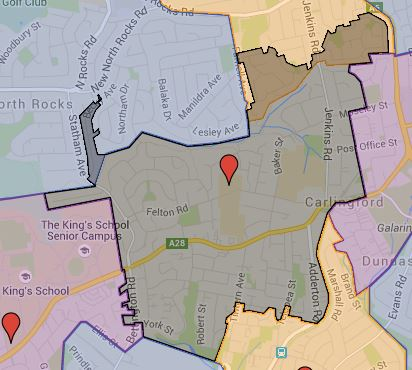 Major update to Carlingford West Public School Catchment and also added Barnier and Quakers Hill East Public School Catchment