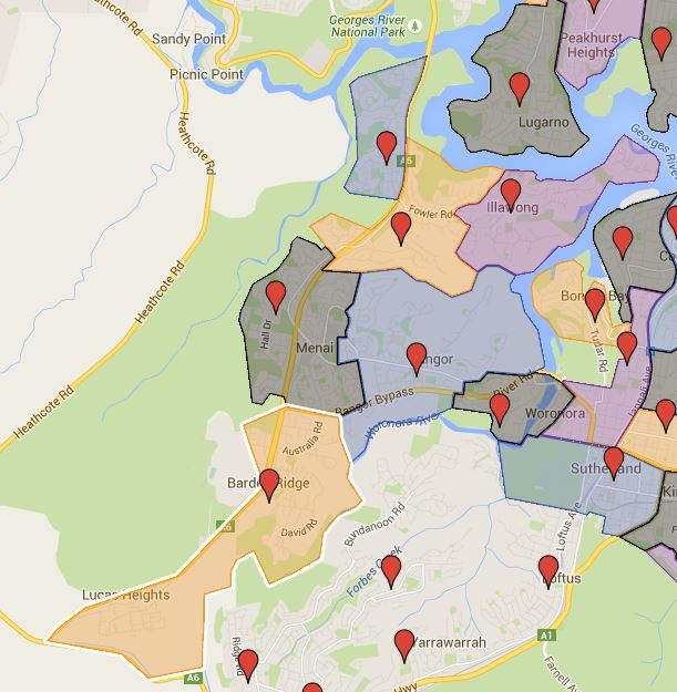Alfords Point, Bangor, Illawong, Lucas Height Community, Menai and Tharawal Public School Catchment Map Added