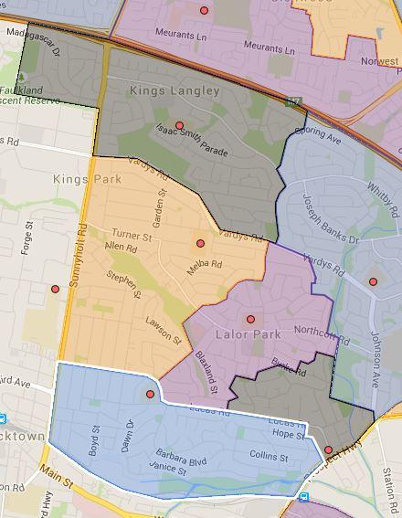 Kings Langley, Lalor Park, Lynwood Park, Seven Hills and Seven Hills West Public School Catchment Map Added