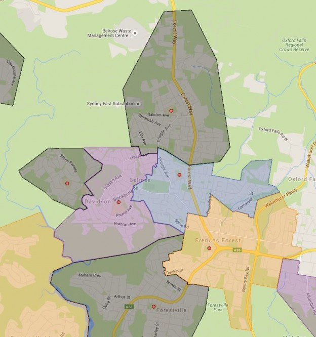 Belrose, French Forest, Kambora, Mimosa and Wakehurst Public School Catchment Maps Added