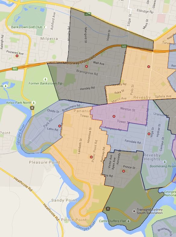 East Hills,Panania, Panania North, Picnic Point and Tower Street Public School Catchment Maps Added