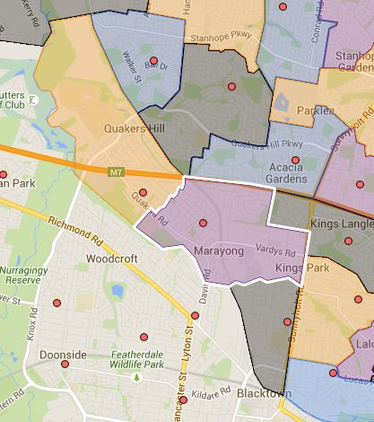 Blacktown North, Marayong Heights and Quakers Hill Public School Catchment Map Added