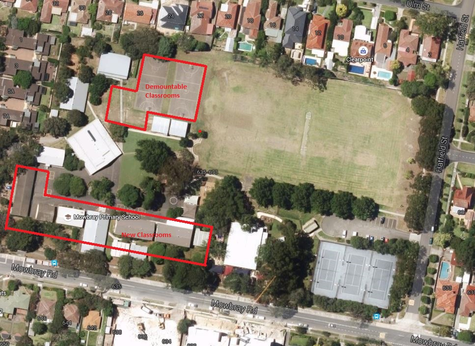 Mowbray Public School Pre Expansion Satellite Map With Marking