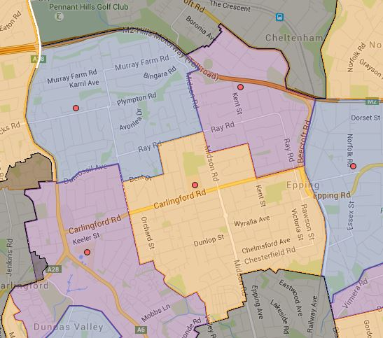 Epping Height, Epping West and Roselea Public School 2016 Catchment Map