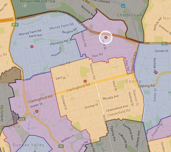 Epping Height, Epping West and Roselea Public School Before Updated Catchment Map