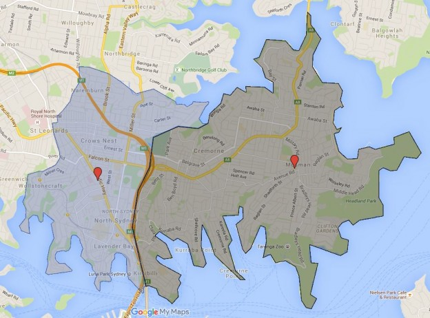 First foray into mapping Sydney High School Catchment Map (Cammeraygal and Mosman High School)