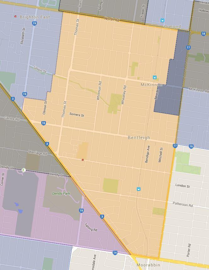 Bentleigh West Primary School Zone Catchment Map