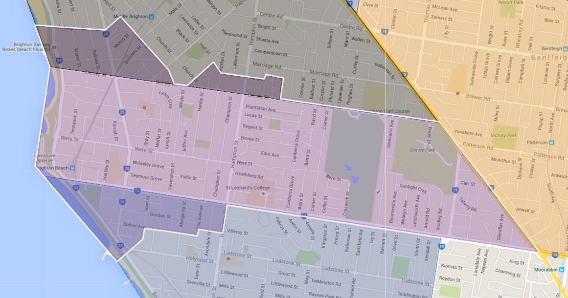 Brighton Beach Primary School Zone Catchment Map