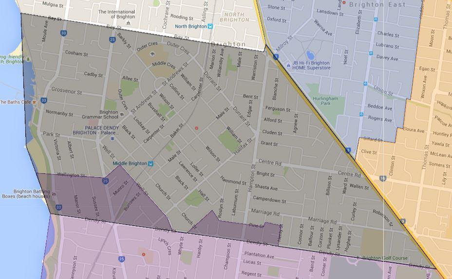 Brighton Primary School Zone Catchment Map