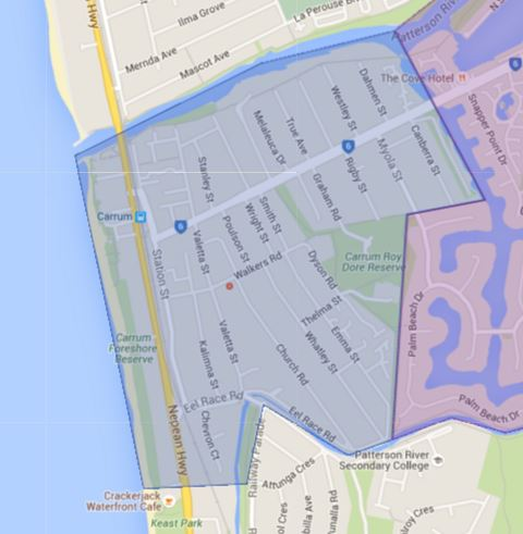 Carrum Primary School Catchment Map