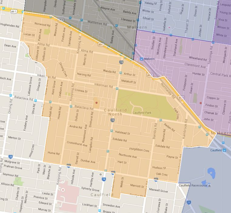 Caulfield Junior College Catchment Map