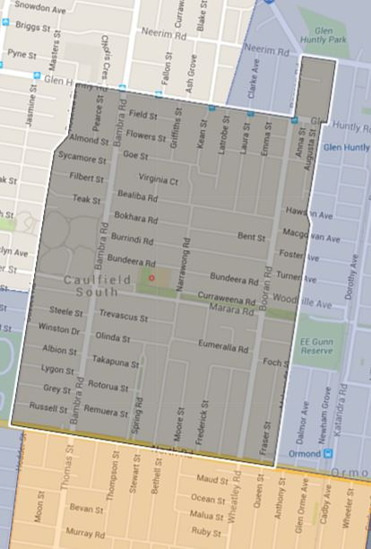 Caulfield South Primary School Catchment Map