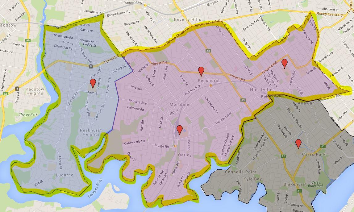Georges River College Oatley College Senior Campus Catchment Map