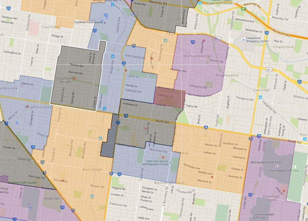 Melbourne Sample School Catchment Map specific zoned