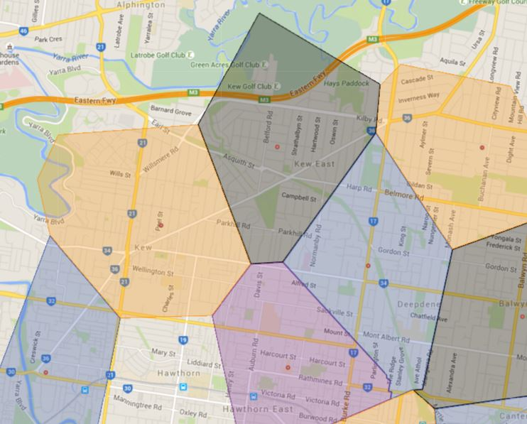 Melbourne Sample School Catchment Map