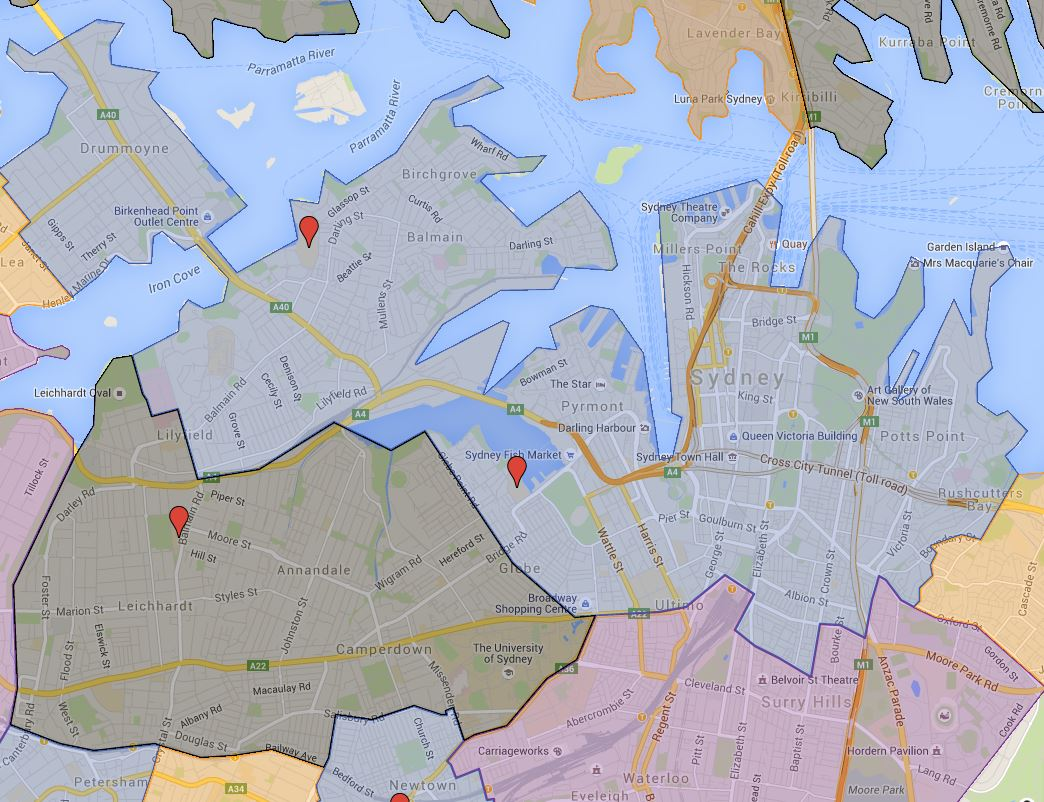 Sydney Secondary College Blackwattle Bay Campus Catchment Map