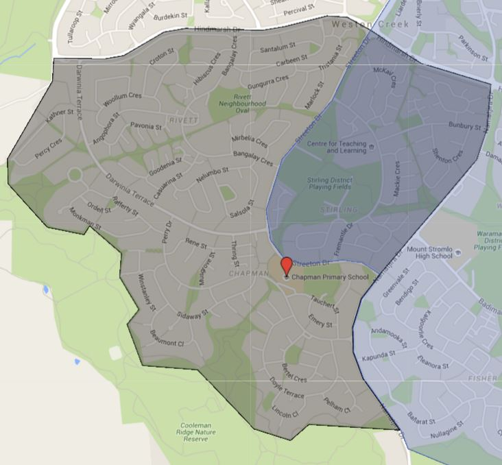 Chapman Primary School Catchment Map