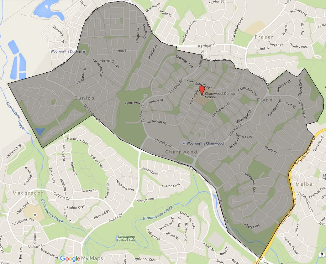 Charnwood-Dunlop Primary School Catchment Map