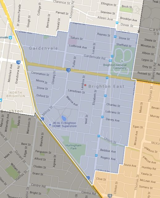 Gardenvale Primary School Zone Catchment Map
