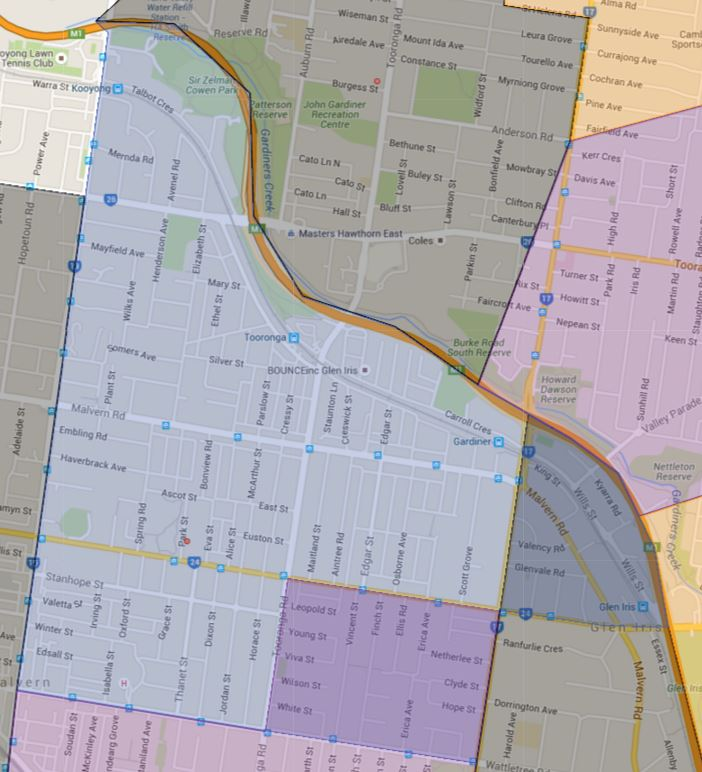 Malvern Central School Zone Catchment Map