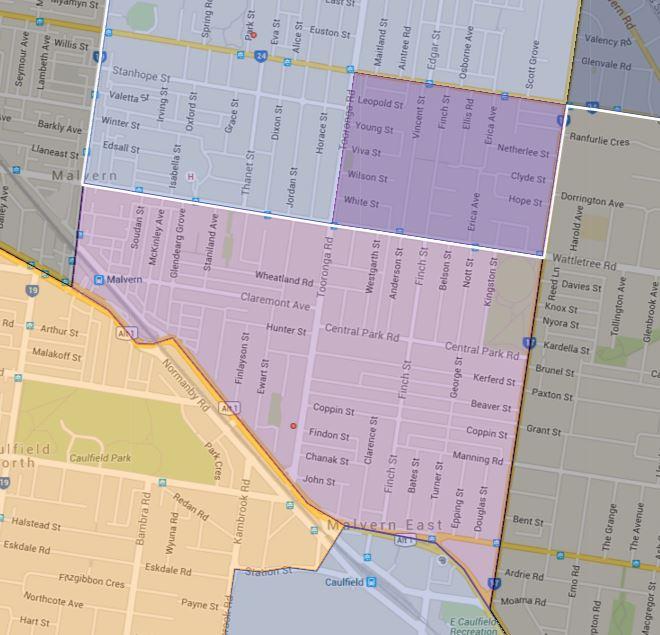 Malvern Primary School Zone Catchment Map