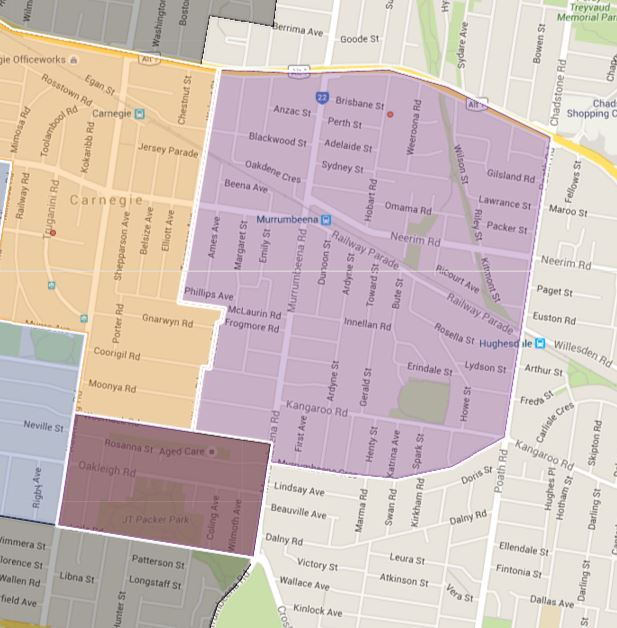 Murrumbeena Primary School Zone Catchment Map