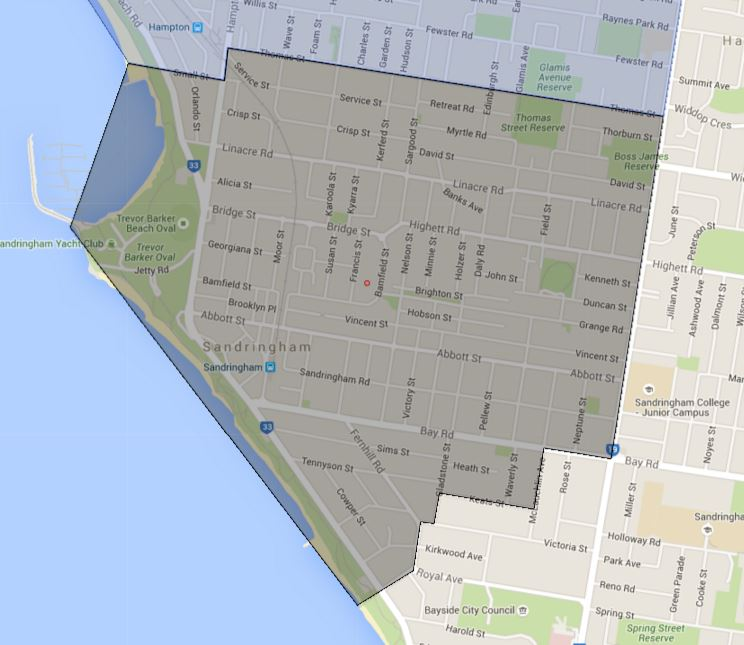 Sandringham Primary School Zone Catchment Map