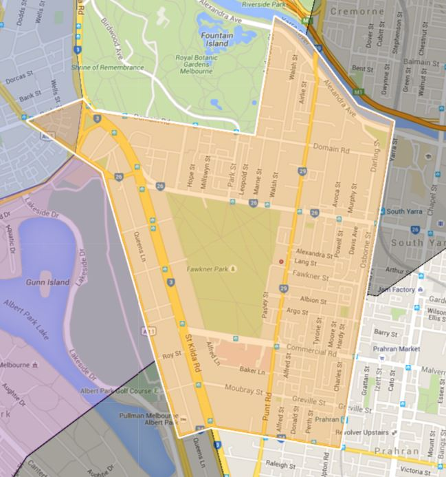 South Yarra Primary School Zone Catchment Map