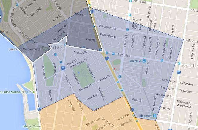 St Kilda Primary School Zone Catchment Map
