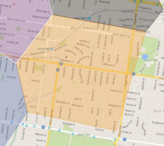 Surrey Hills Primary School Zone Catchment Map