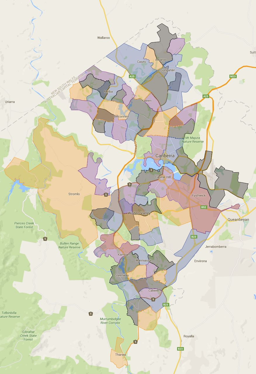 ACT Canberra Primary School Catchment Map