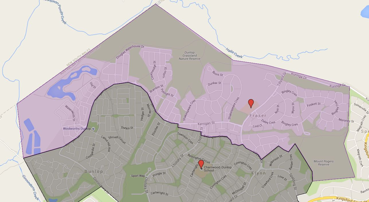 Fraser Primary School Catchment Map