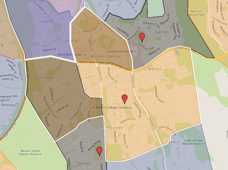 Mawson Primary School Catchment Map