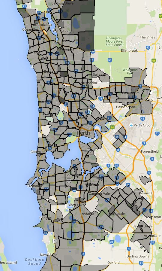 Perth Primary School School Zone Catchment Map