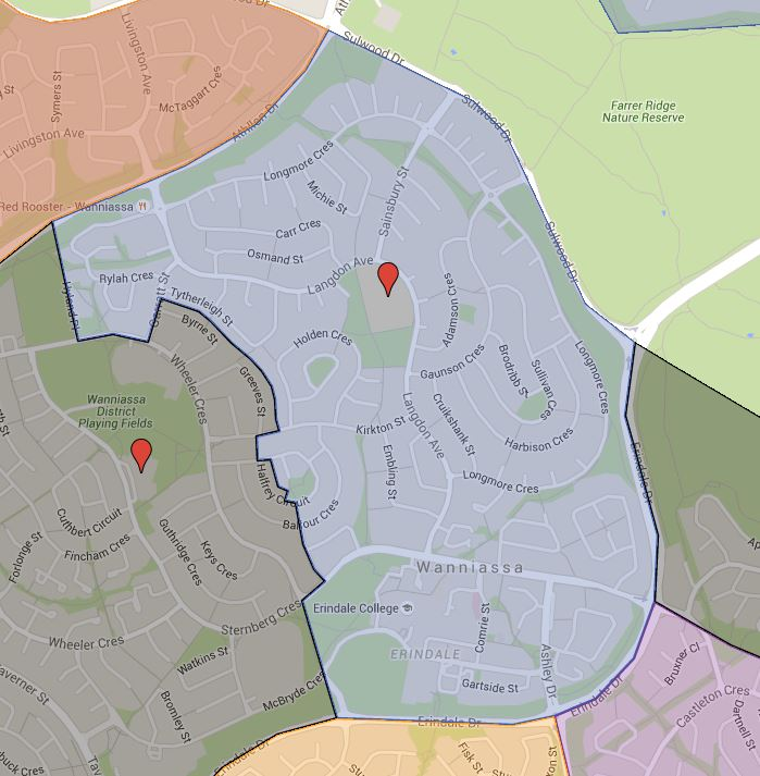 Wanniassa Hills Primary School Catchment Map