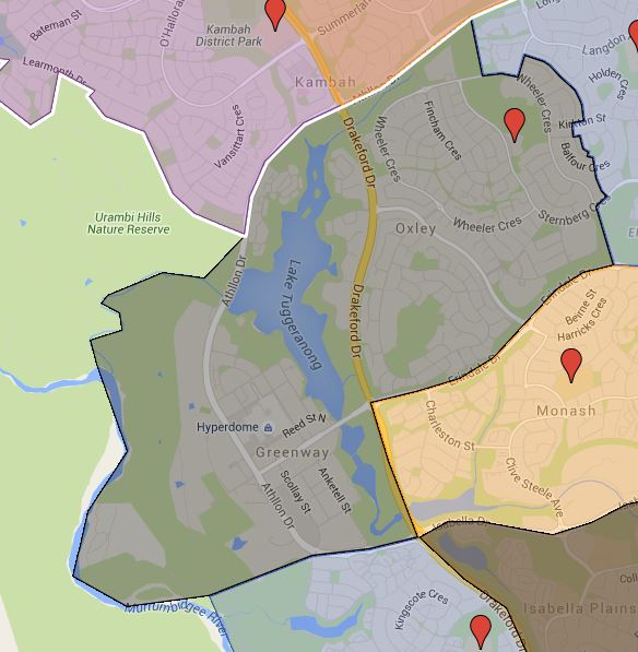 Wanniassa Primary School Catchment Map