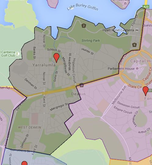 Yarralumla Primary School Catchment Map