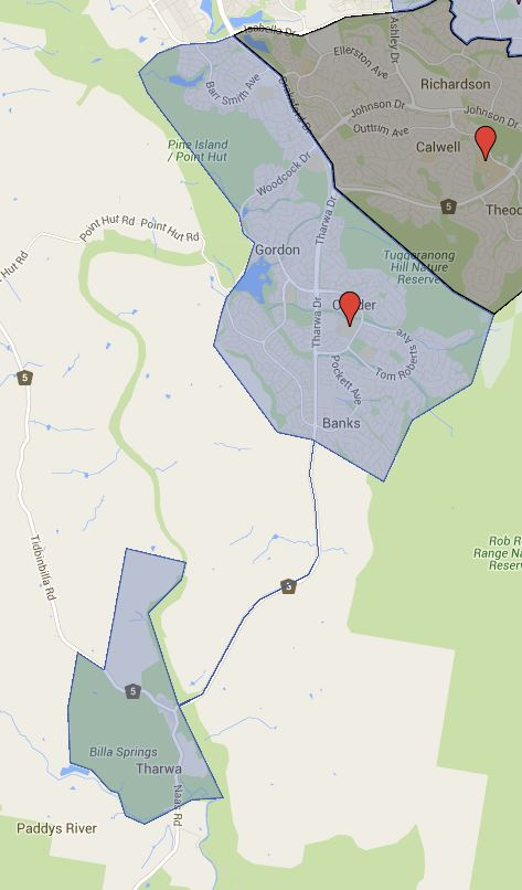 Lanyon High School Catchment Map