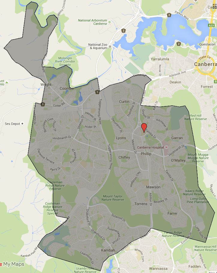 Canberra College Catchment Map