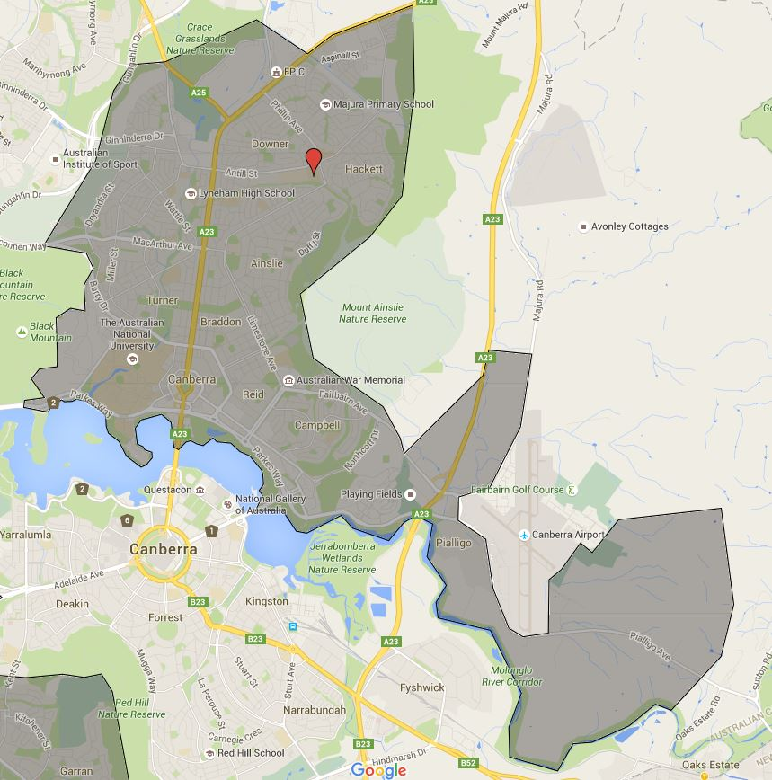 Dickson College Catchment Map
