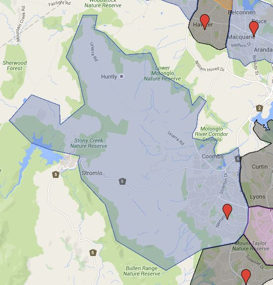 Mount Stromlo High School Catchment Map