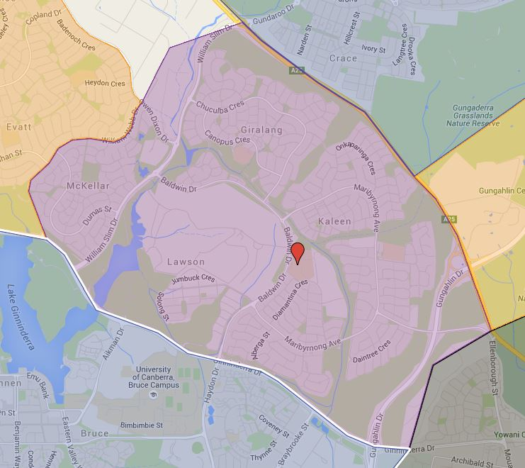 University of Canberra High School Kaleen Catchment Map