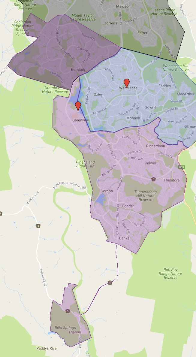 Lake Tuggeranong College Catchment Map
