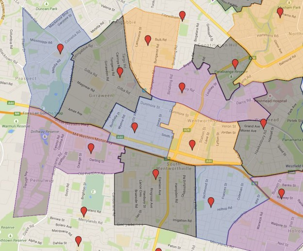 Wentworthville, Pendle Hill, Beresford Road, Toongabbie East and Toongabbie West Public School Catchment Added