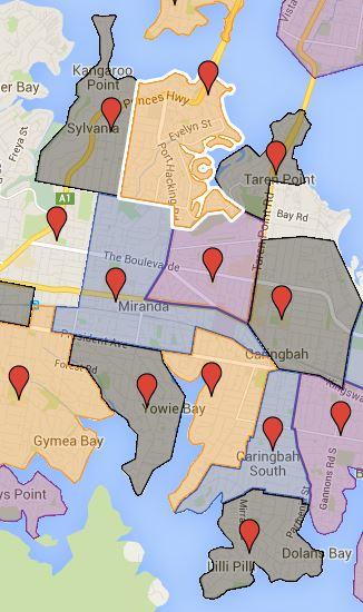 Caringbah, Laguna, Miranda, Sylvania and Sylvania Height Public School Catchment Maps