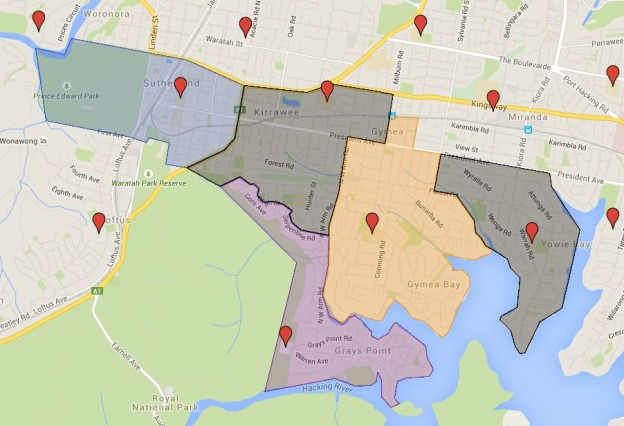Grays Point, Gymea Bay, Kirrawee, Sutherland and Yowie Bay Public School Catchment Map Added