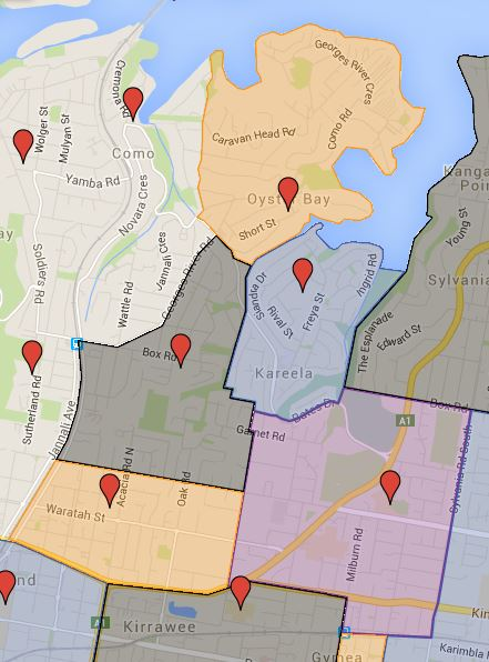 Gymea North, Jannali East, Kareela, Oyster Bay and Sutherland North Public School Catchment Added
