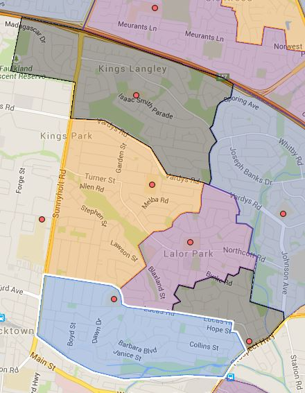 Kings Langley, Lalor Park, Lynwood Park, Seven Hills and Seven Hills West Public School Catchment Map Added