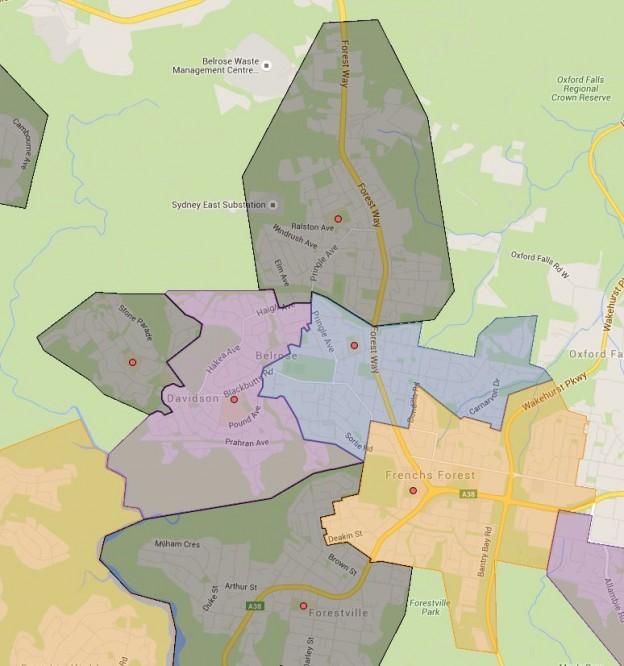 Belrose, French Forest, Kambora, Mimosa and Wakehurst Public School Catchment Maps Added